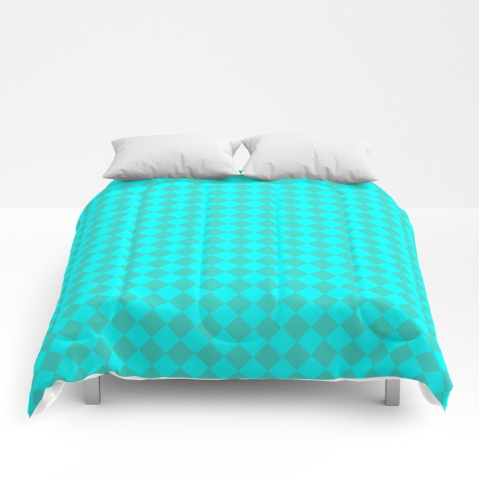 Cyan and Turquoise Diamonds Comforters