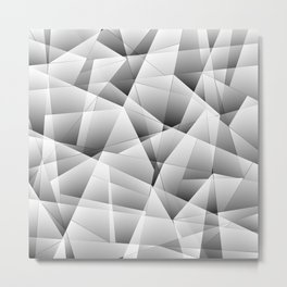 Exclusive light monochrome pattern of chaotic black and white fragments of glass and ice floes. Metal Print