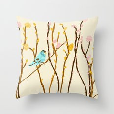 Pussywillow Landscape Throw Pillow