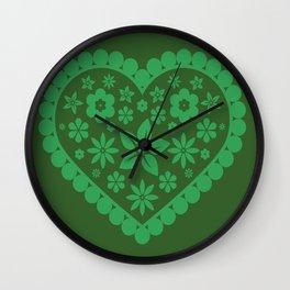 Green heart decor design Wall Clock