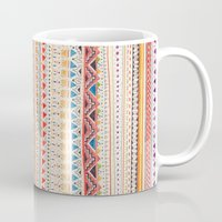 aztec Mugs featuring Pattern by Sandra Dieckmann