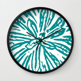Blue Linocut Flower Textile Wall Clock