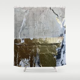 Elegantly Rough: an abstract, minimal piece in gold, pink, black and white by Alyssa Hamilton Art Shower Curtain