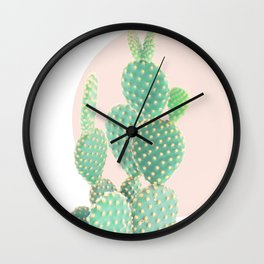 Cacti, Cactus decor, Pastel, Plant, Pink, Minimal, Interior, Wall art Wall Clock