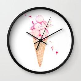 Pink Macaroons Rose Ice Cream Fashion Stylish Minimalism Food Wall Clock