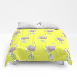 Ostrich on Monocycle Comforters