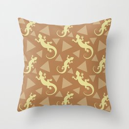 Wild crawling lizards, geometric triangle shapes whimsical ethnic tribal retro vintage warm chocolate brown lizard abstract pattern. Gifts for geometry and animal lovers. Throw Pillow