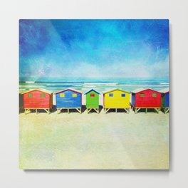 Muizenberg Beach Huts, South Africa Metal Print