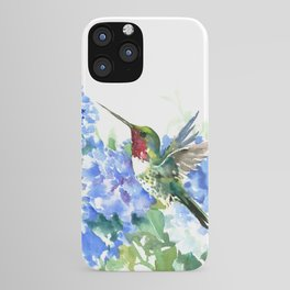 Hydrangea Flowers and Ruby Throat Hummingbird iPhone Case