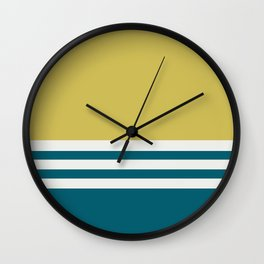 Off White, Dark Yellow and Tropical Dark Teal Inspired by Sherwin Williams 2020 Trending Color Oceanside SW6496 Straight Horizontal Triple Stripe Pattern Wall Clock
