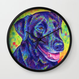 Happy Go Lucky - Colorful Black Lab Wall Clock