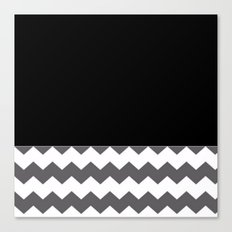 Chevron Gray Black And White - Glamour Canvas Print
