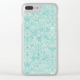 Detailed Floral Pattern in Teal and Cream Clear iPhone Case