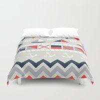 nautical Duvet Covers featuring Nautical by Decade Card