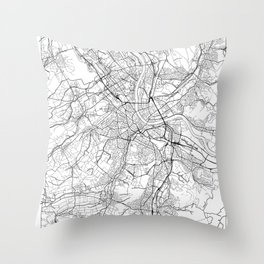 Basel Map White Throw Pillow