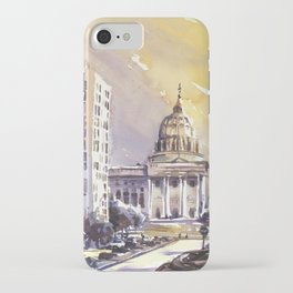 Watercolor painting of Pennsylvania State Capitol building at sunset- Harrisburg (USA). iPhone Case