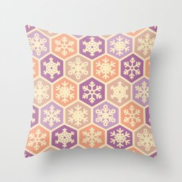 Peach Pink and Purple Christmas Nordic Snowflake Pattern Throw Pillow