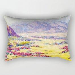 California Desert Wildflowers with Mountains Beyond by Benjamin Brown Rectangular Pillow