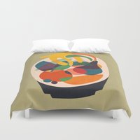 wooden Duvet Covers featuring Fruits in wooden bowl by Picomodi