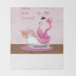 Flamingo Enjoying the Bath Throw Blanket