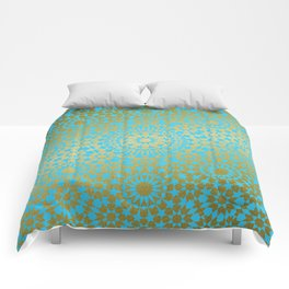 Moroccan Nights - Gold Teal Mandala Pattern 1 - Mix & Match with Simplicity of Life Comforters
