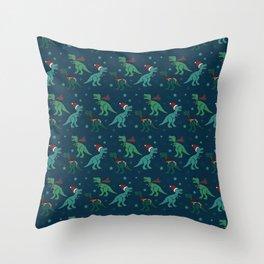 Holiday T-Rex Throw Pillow