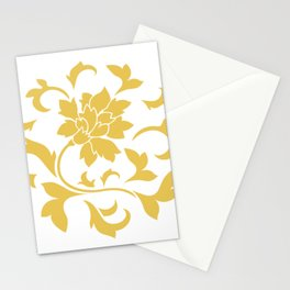 Oriental Flower - Mustard Yellow Circular Pattern On White Background Stationery Cards
