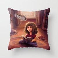 bookworm Throw Pillows featuring Little Bookworm by Svenja Gosen