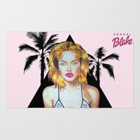 barbie Area & Throw Rugs featuring Golden Barbie by Kendal Blake