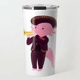 Axolotl with mariachi costume playing the trumpet, Digital Art illustration Travel Mug