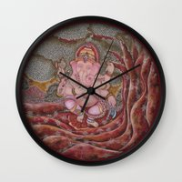 ganesha Wall Clocks featuring Ganesha by Sincronizarte