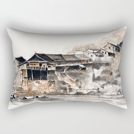 Chinese Old Houses Rectangular Pillow