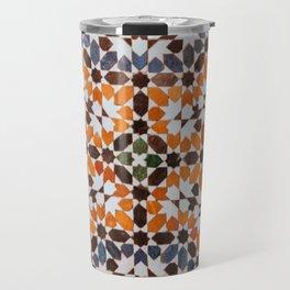 Orange flower pattern Travel Mug
