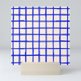 Indigo Blue Grid Pattern Square Lines Pattern Print Beige Mini Art Print