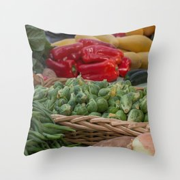 Brussel Sprouts and other Fresh Veggies Throw Pillow