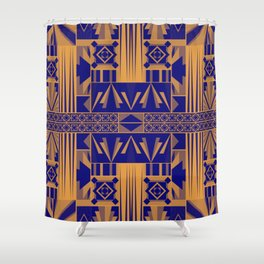 Art Deco Abstract Pattern Royal Blue Shower Curtain
