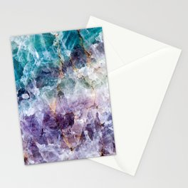 Turquoise & Purple Quartz Crystal Stationery Cards