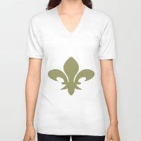 fleur de lis V-neck T-shirts featuring Fleur de lis hoodie by anto harjo