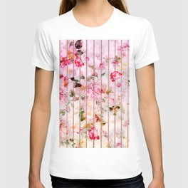 Blush pink coral watercolor floral faux rose gold stripes T-shirt