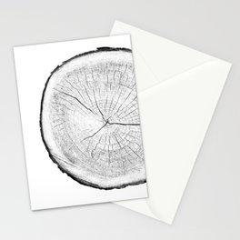 Realistic monotone photo of detailed cut tree slice with rings and organic texture Stationery Cards