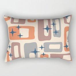 Retro Mid Century Modern Abstract Pattern 926 Orange Brown Gray Rectangular Pillow