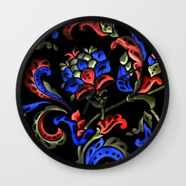 Hand-Painted Scroll Black Wall Clock