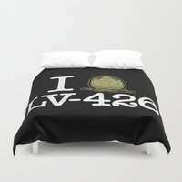 lv Duvet Covers featuring I Love LV-426 by Mike Handy Art