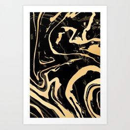 Liquid black and gold marble. Trendy golden ink marbling texture. Suminagashi art. Art Print