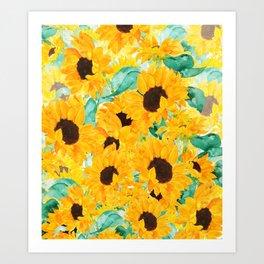 watercolor sunflower pattern 2019 Art Print