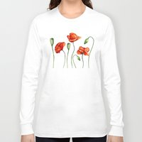 poppies Long Sleeve T-shirts featuring Poppies by Julia Badeeva
