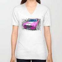mustang V-neck T-shirts featuring Pink Mustang  by Paul Stephenson