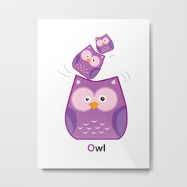 Triple Owl Family Metal Print