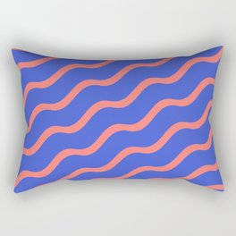 Red Waves in a Blue Sea Rectangular Pillow