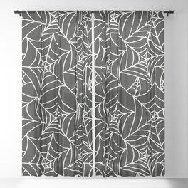 Gothic Halloween - white spider webs on black background Sheer Curtain